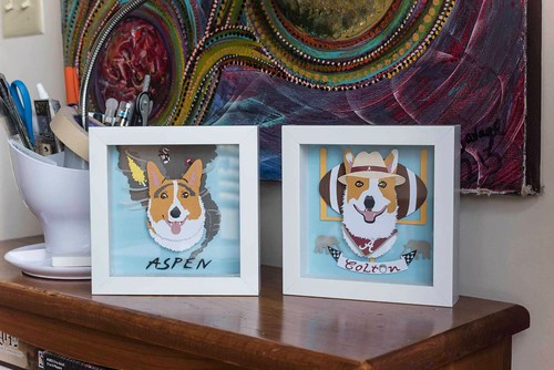 Paper Cut Pet Portraits by Kathryn Willis - Colton and Aspen