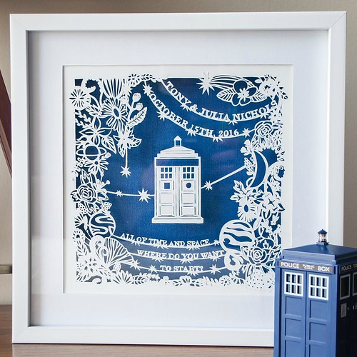 Paper Cut Wedding Gift by Kathryn Willis - Doctor Who Theme