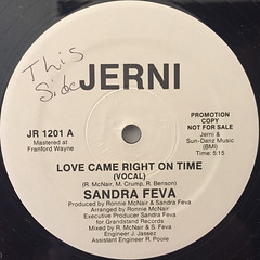 SANDRA FEVA:LOVE CAME RIGHT ON TIME(LABEL SIDE-A)