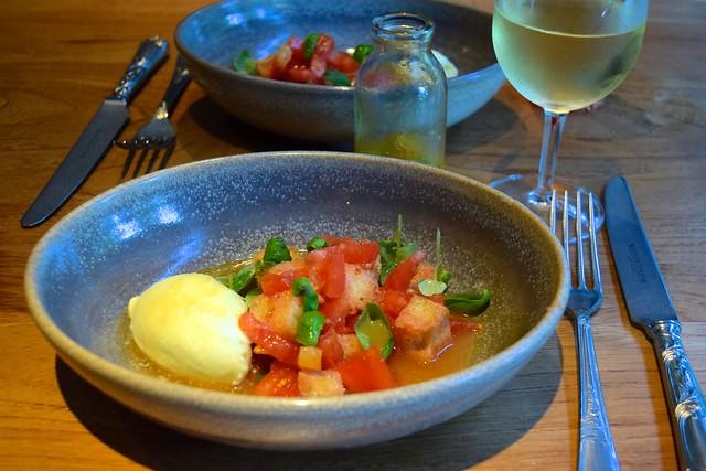 Panzanella salad, extra virgin olive oil ice cream, fresh garlic tomato juice and sherry vinegar | www.rachelphipps.com @rachelphipps