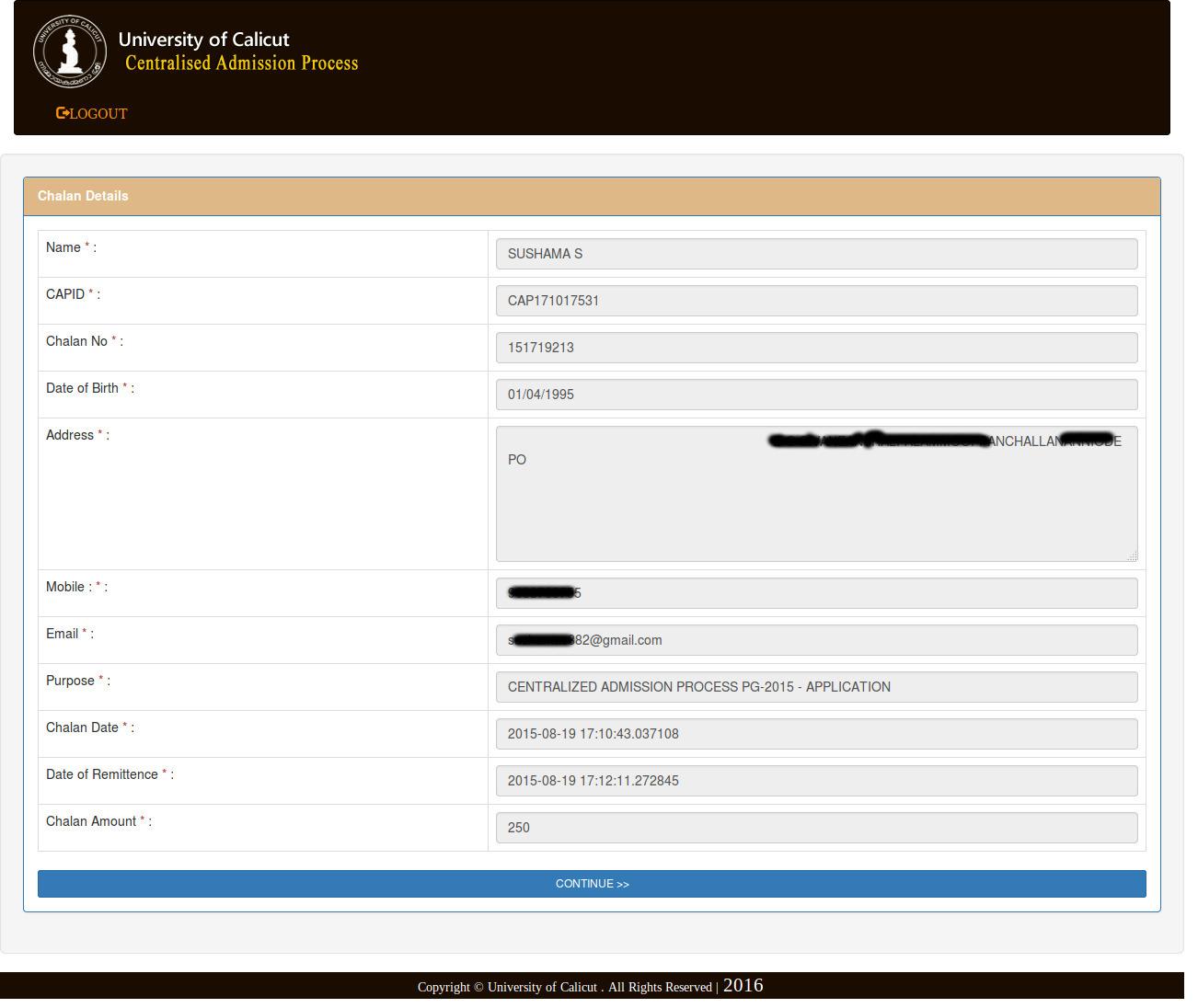 University of Calicut B.Ed Application Form 2017