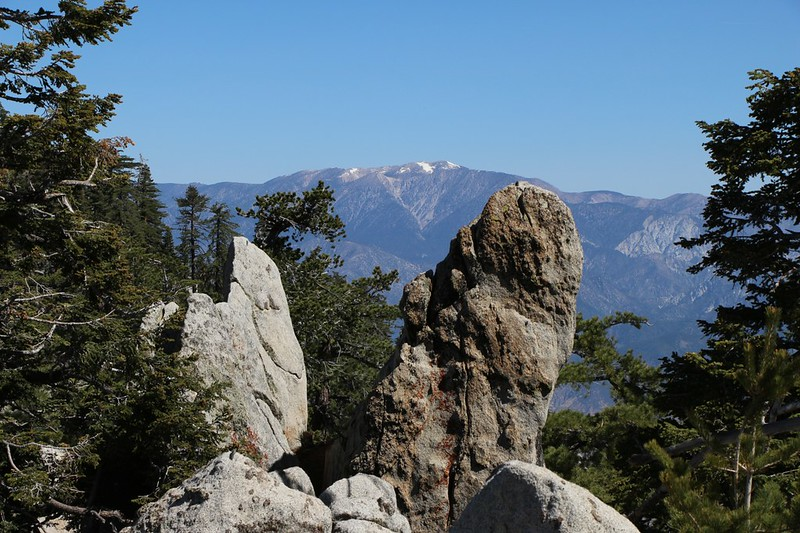 Zoomed-in view of San Gorgonio Mountain from the Fuller Ridge Trail