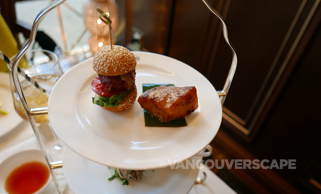 TWG Tea/Miso maple sablefish infused with Caramel Tea, Wagyu beef slider with maple leaf bacon, Moroccan Mint Tea-infused BBQ sauce