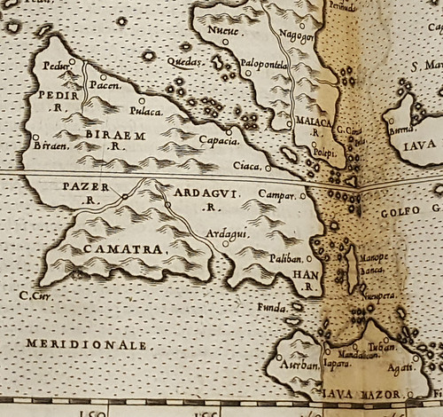 Map showing Camatra from the 1562 printing of Ptolemy's Geographia.