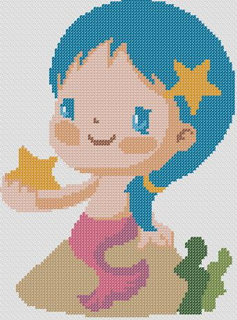 Preview of Baby Cross Stitch Patterns: Baby Pisces (Baby Zodiac Series)
