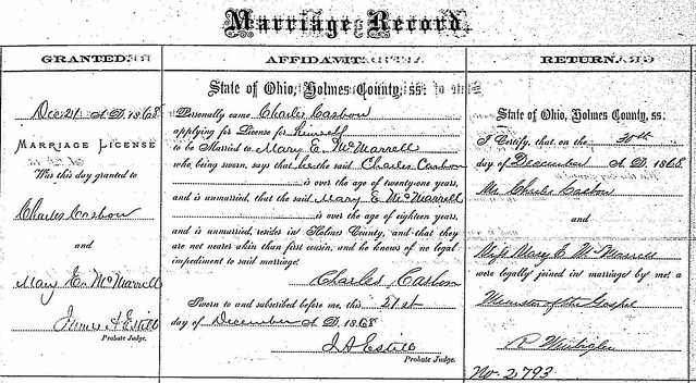 Charles C Mary McMarrell marriage