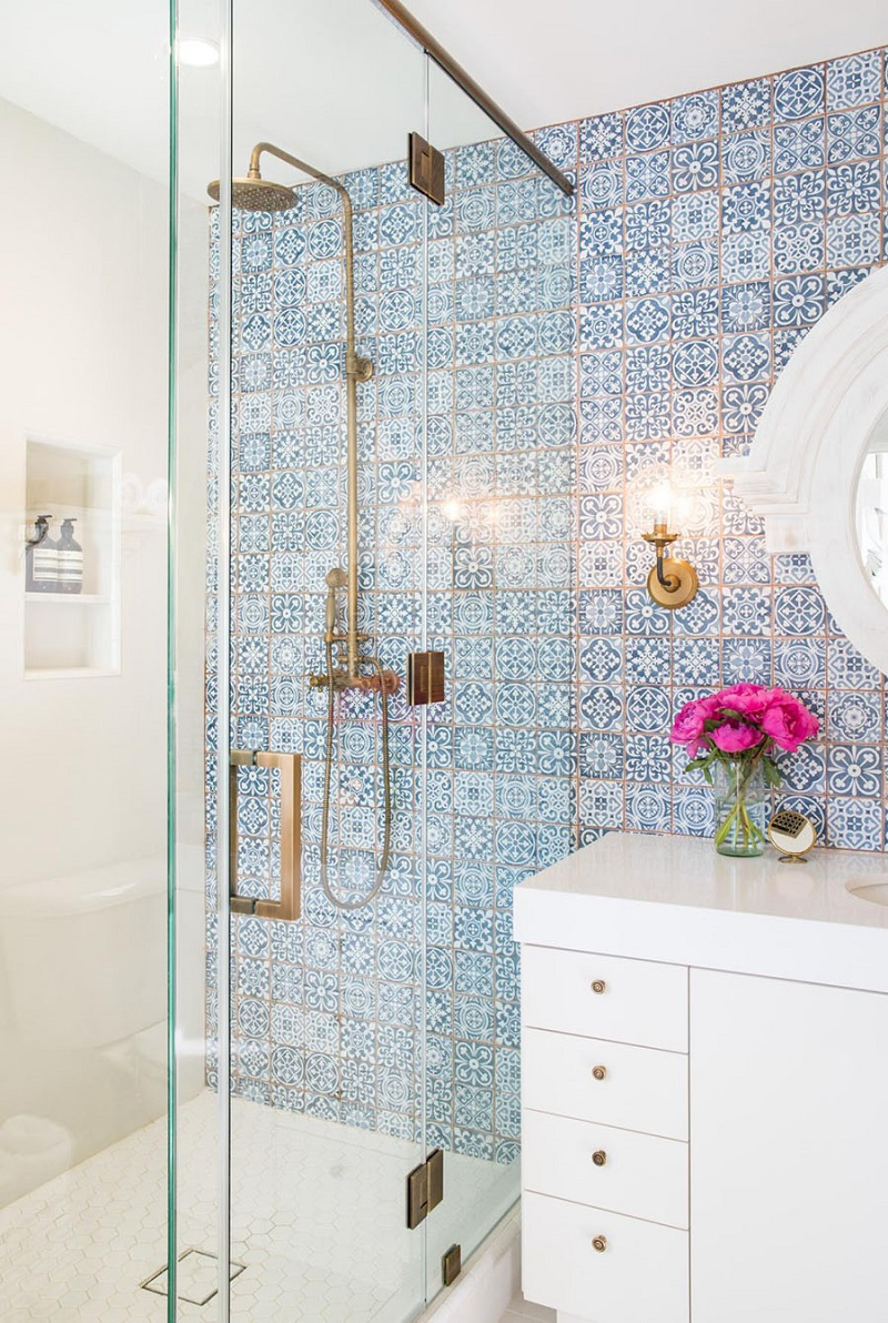 The 15 Best Tiled Bathrooms on Pinterest Colorful Blue Mosaic Tile Shower Wall Gold Hardware