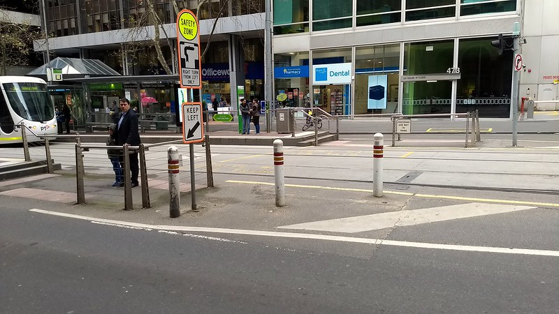 Bourke St, bollards protecting tram stop