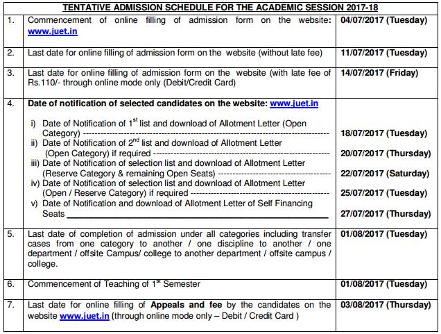 Jammu University Admission 2017 through JUET 2017