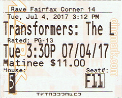 Transformers: The Last Knight ticketstub
