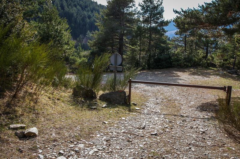Barrera en la pista del Bosc de Carboners