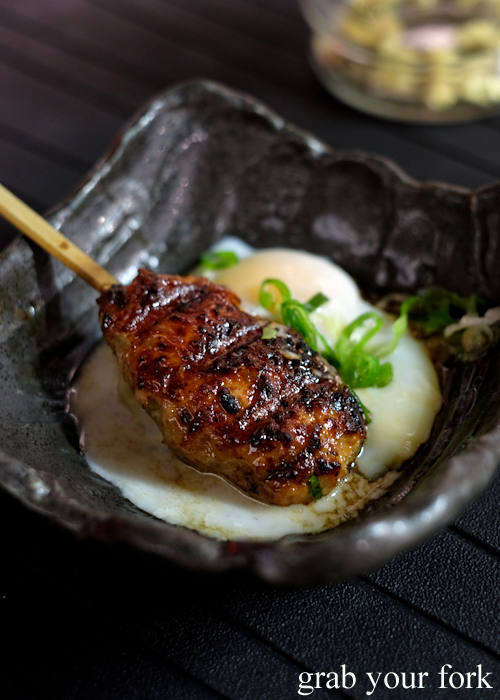 Tsukune meat ball with soft boiled egg at Yakitori Jin Japanese restaurant in Haberfield Sydney