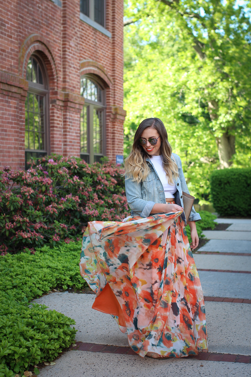 True Life: I'm Addicted to Maxi Skirts Chicwish Orange Blossom Watercolor Maxi Skirt Gap Denim Jacket Quay Supergirl Sunglasses Jackie Giardina Living After Midnite Fashion Style Blogger