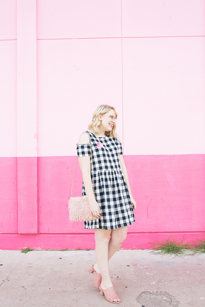 austin fashion blogger writes like a girl gingham dress pink mules10