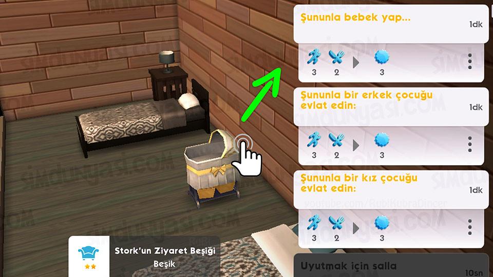 The Sims Mobile - Bebek Yap Serüveni - Beşiğe Tıkla - Şununla Bir Erkek-Kız Çocuk Evlat Edin / Şununla Bebek Yap