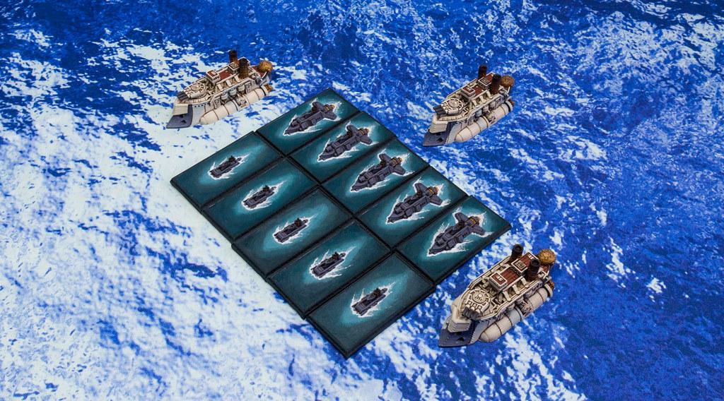 Dystopian Wars Kingdom of Britannia Valiant Submarine, Dominion Support Cruiser