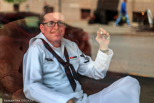 Naval Sailor Enjoys a Cigar