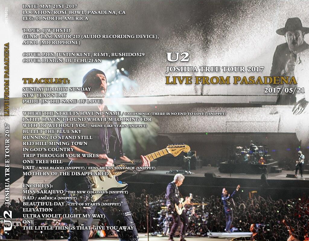 U2start.com | Joshua Tree 2017 Tour CD/DVD Covers