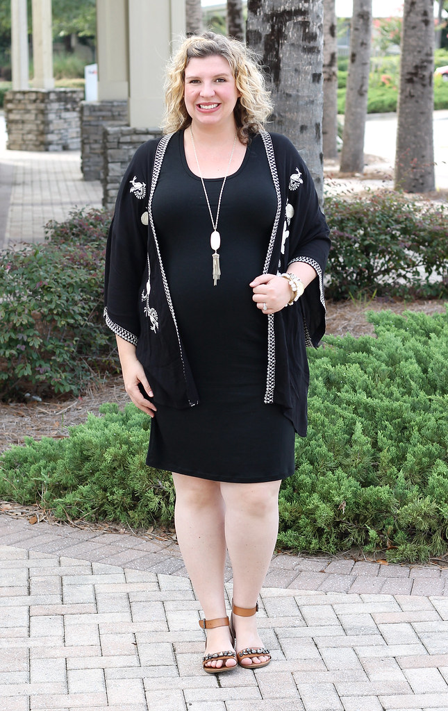 maternity black dress, black kimono and embellished sandals 5
