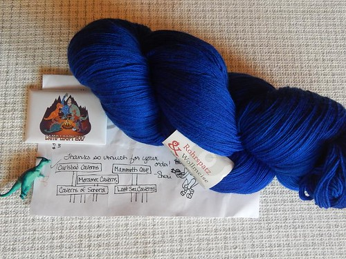 July (?) Camp yarn: Rohrspatz & Wollmeise Lacegarn, Kornblume