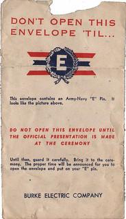 Army-Navy E Award envelope