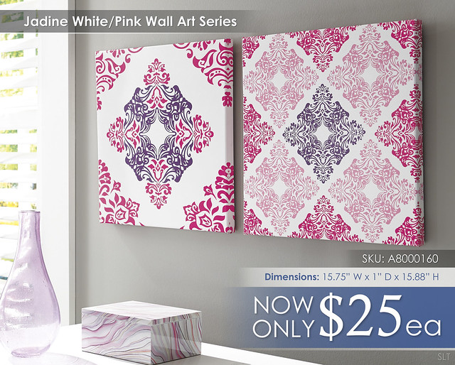 Jadine White Pink Wall Art A8000160-161-SET