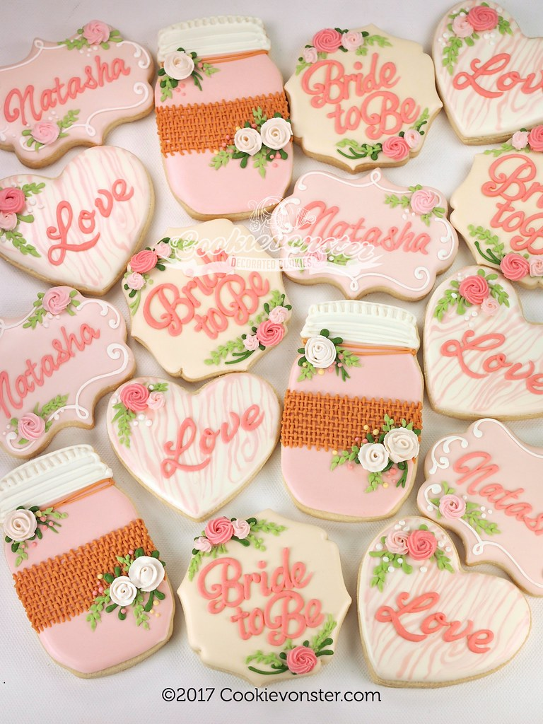 pink rustic bridal shower cookies by cookievonster