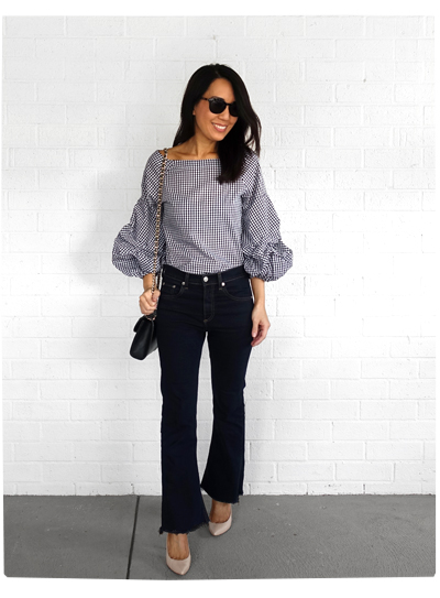 Hello Parry Gingham + Flare Jeans