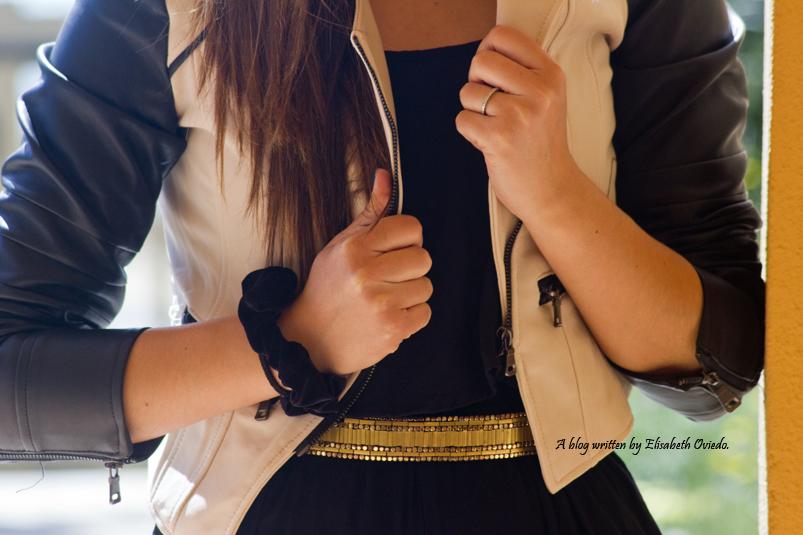 mono negro cinturon dorado chaqueta de cuero heelsandroses moda blogger fashion style look verano primavera sfera el corte ingles (7)