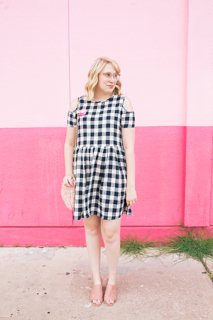 austin fashion blogger writes like a girl gingham dress pink mules1