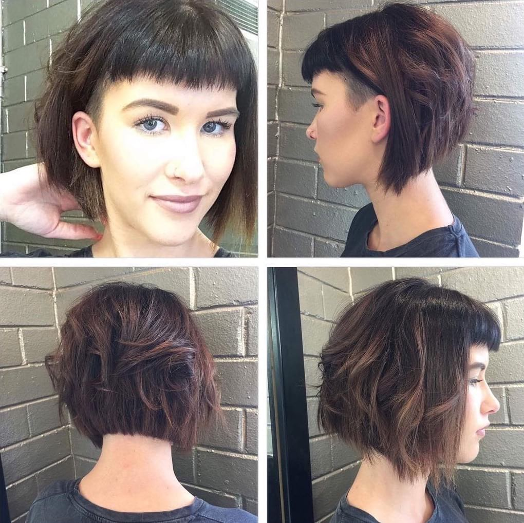 Short Angled Undercut Bob With Messy Waves And Baby Fringe Flickr