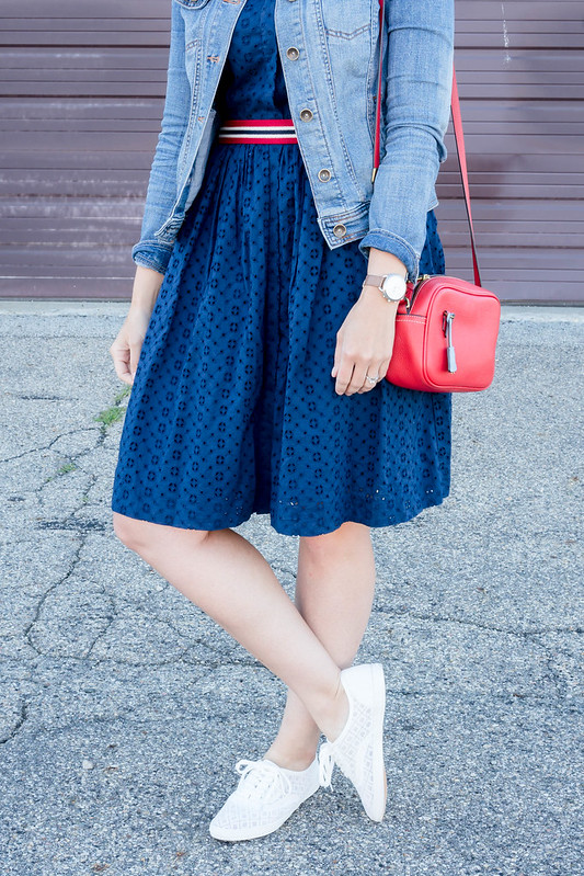 navy eyelet J.Crew dress + denim jacket + red striped belt + red J.Crew crossbody purse; red white and blue outfit | Style On Target blog