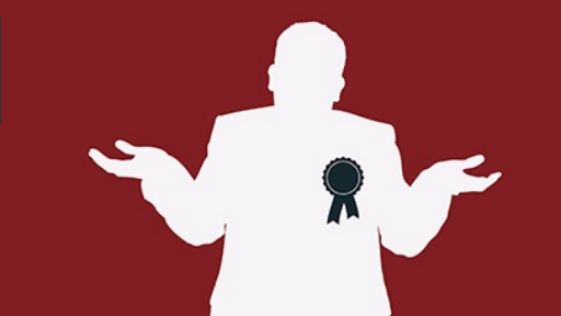 Illustration of a politician shrugging their shoulders