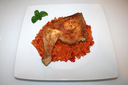 16 - Chicken leg on tomato rice - Serviert / Hähnchenschenkel auf Tomatenreis - Serviert
