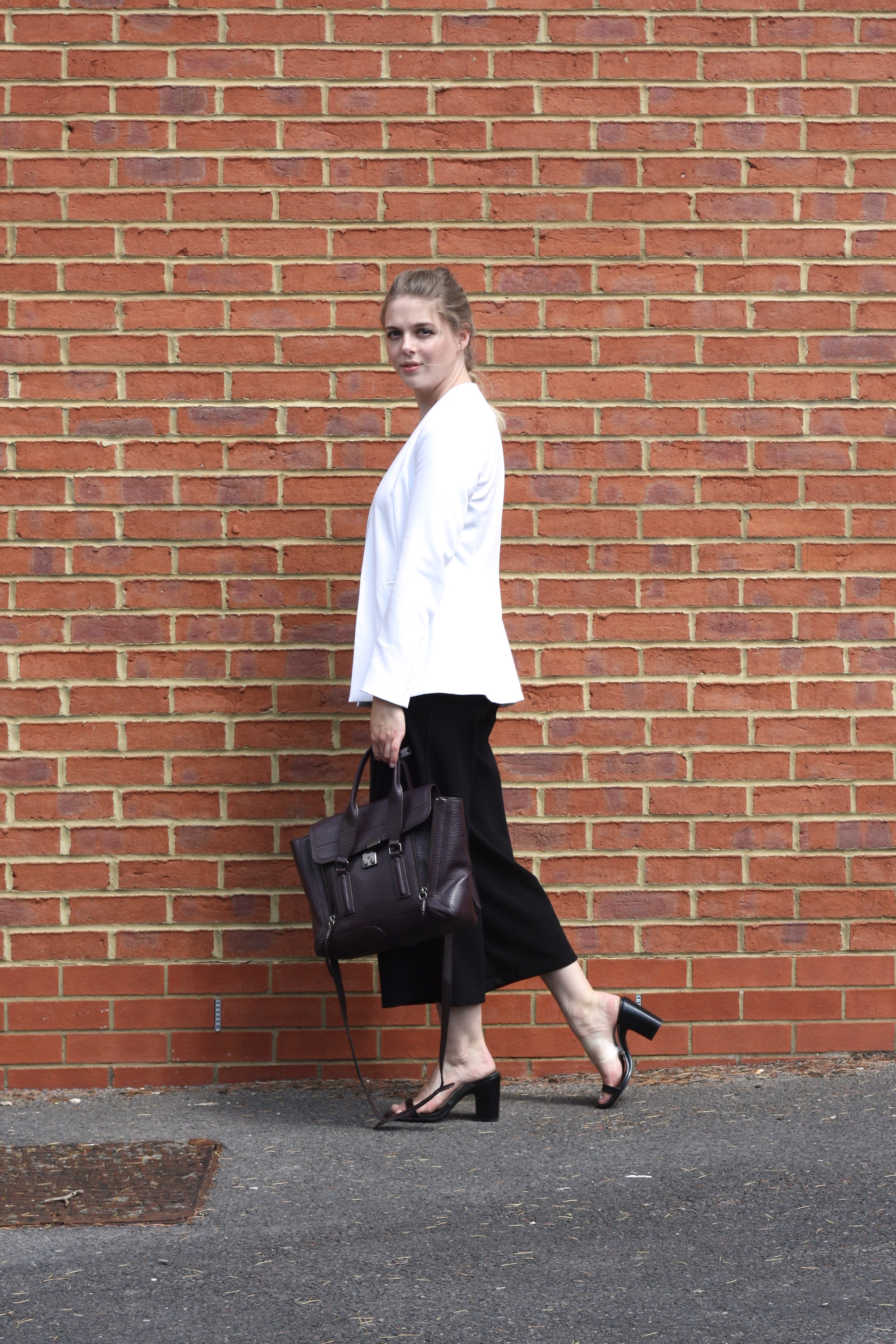 Zara white blazer, Mango perspex shoes and Zara black jumpsuit