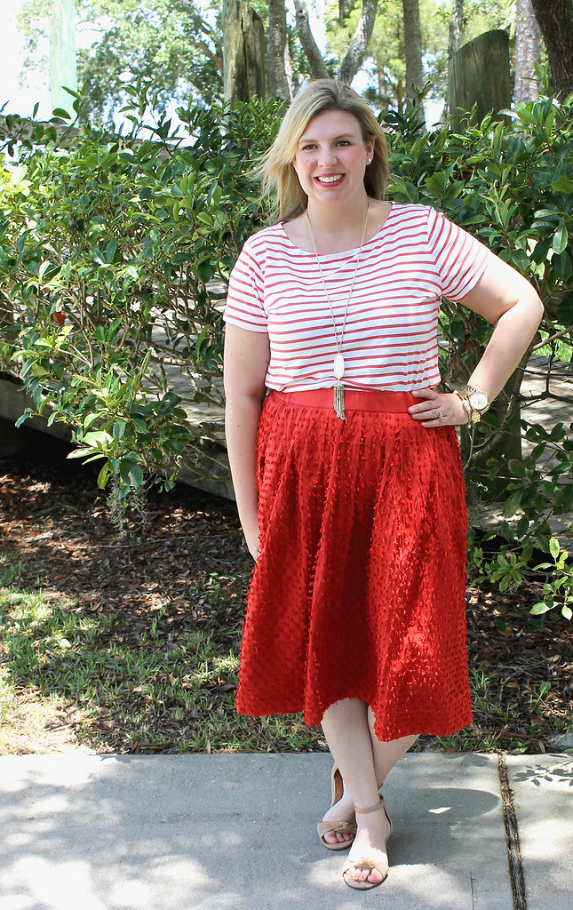 red midi skirt red stripe shirt 6