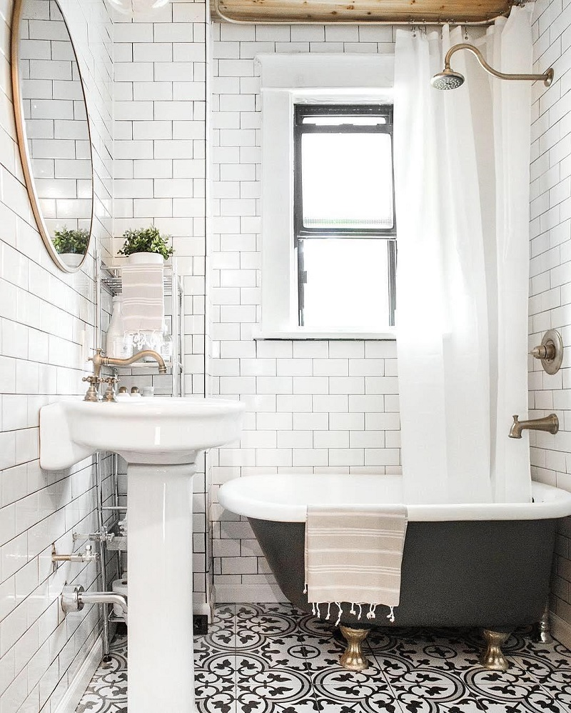 The 15 Best Tiled Bathrooms on Pinterest Black and White Mosaic Tiled Floor Subway Tiles Bathroom Gold Hardware