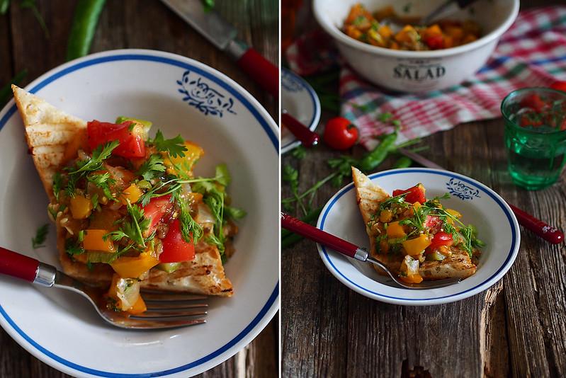Пряный салат из овощей гриль с багетом (готовлю с техникой Gorenje)