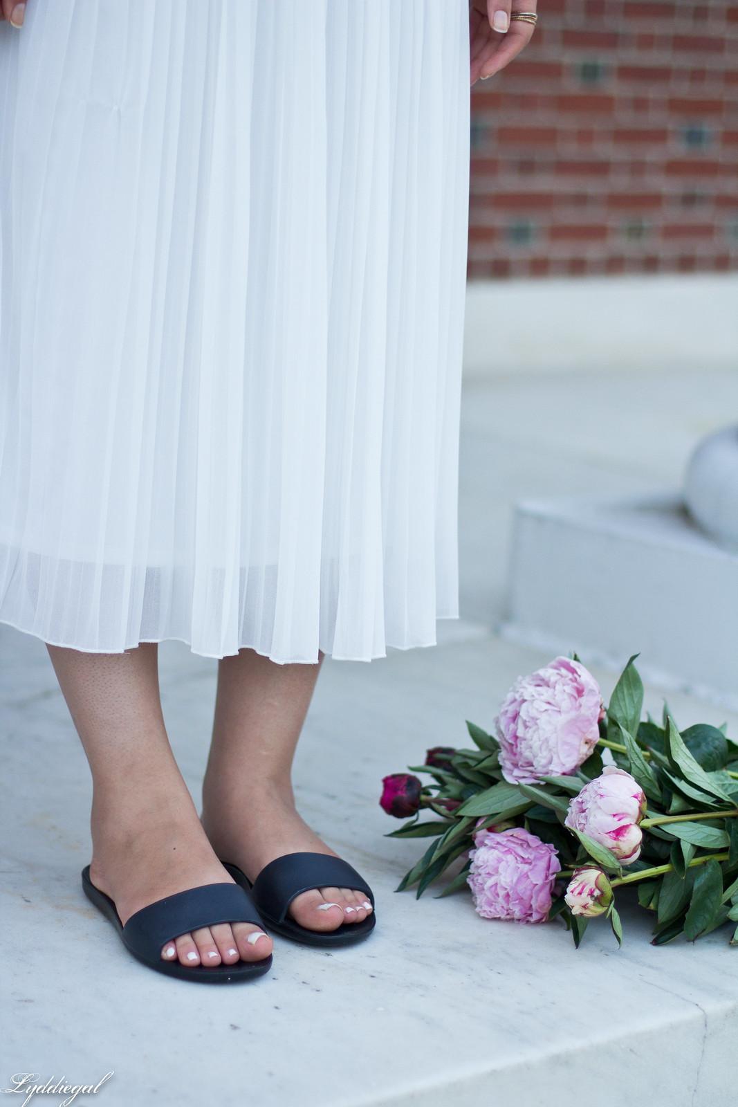 white pleated skirt, black off the shoulder tee, Soak sandals-7.jpg