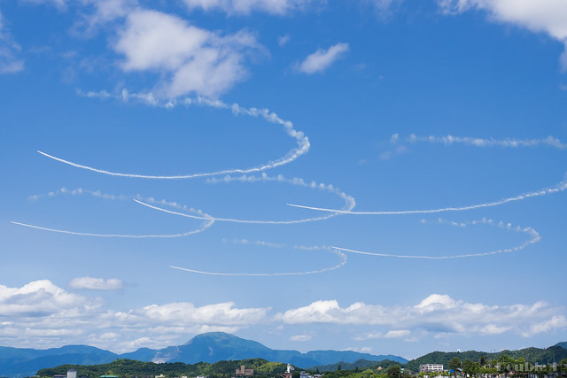 Blue Impulse's rehearsal flight for the 410th anniv. of Hikone Castle (19) Sakura