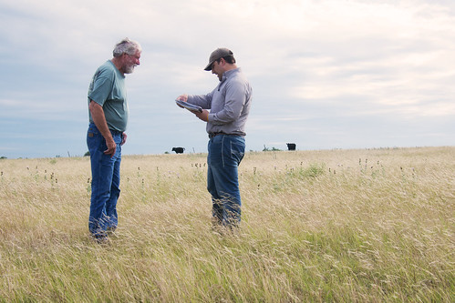 Rancher Larry Mattlage with NRCS district conservationist Clete Vanderburg