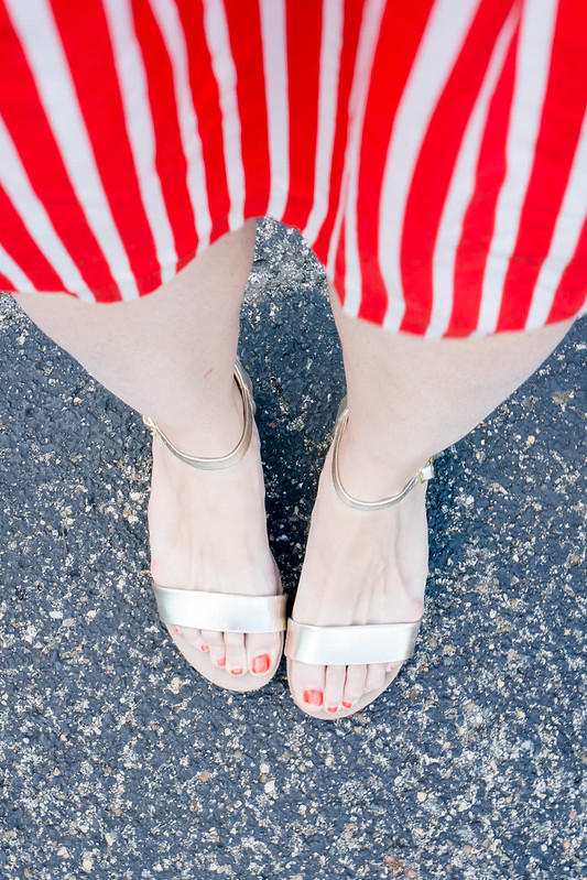 red and white striped J.Crew factory skirt + chambray blouse Target + red J.Crew crossbody purse + Madewell belt; red white and blue outfit | Style On Target blog