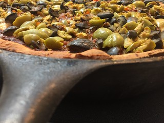 Black & Green Olives atop a Deep Dish #Pizza - h