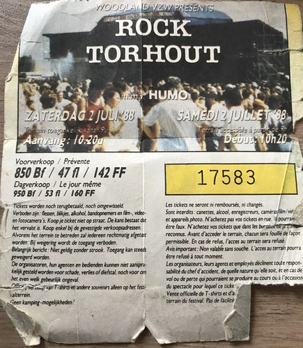 Ticket rock Torhout 1988