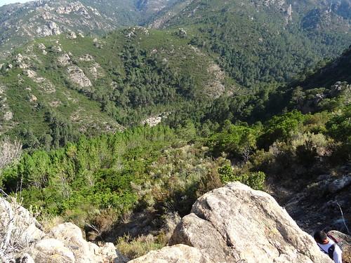 Au niveau du cairn après la 1ère montée et avant l'entrée dans la pinède : le Finicione en dessous