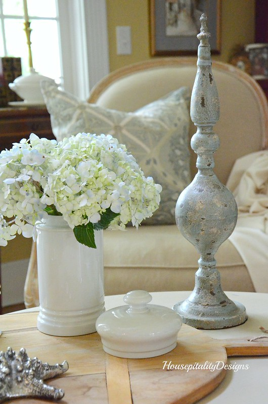 Summer vignette-Ironstone-Hydrangeas-Housepitality Designs