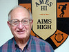 Bill Ripp honorary AHS Alum in front of Ames Hi Aims High Crest 10-16-2007 6-49 PM