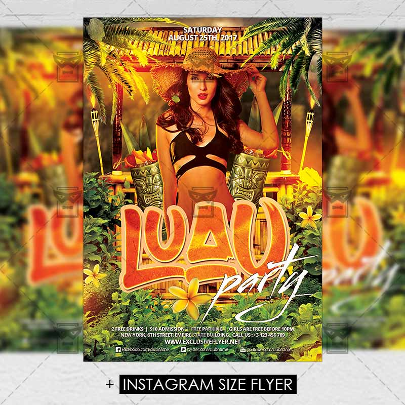 Luau Party Premium A5 Flyer Template The Luau Party Is T Flickr