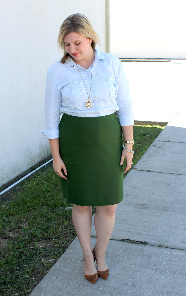 chambray skirt and green pencil skirt 2
