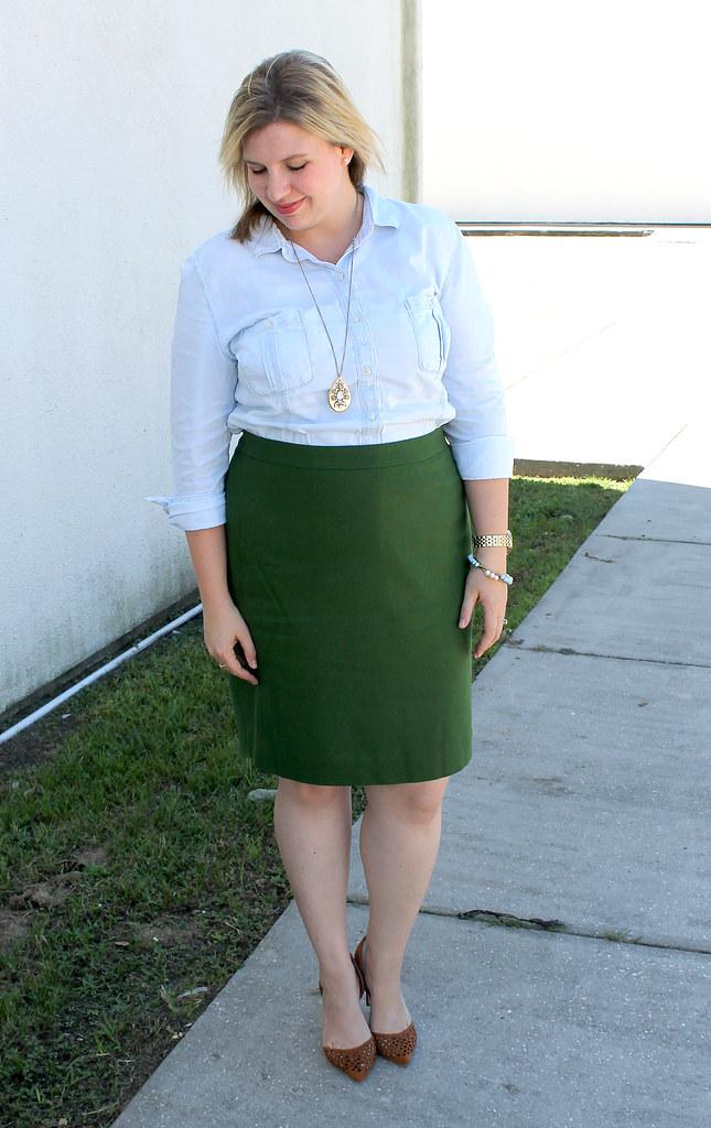 chambray skirt and green pencil skirt 2